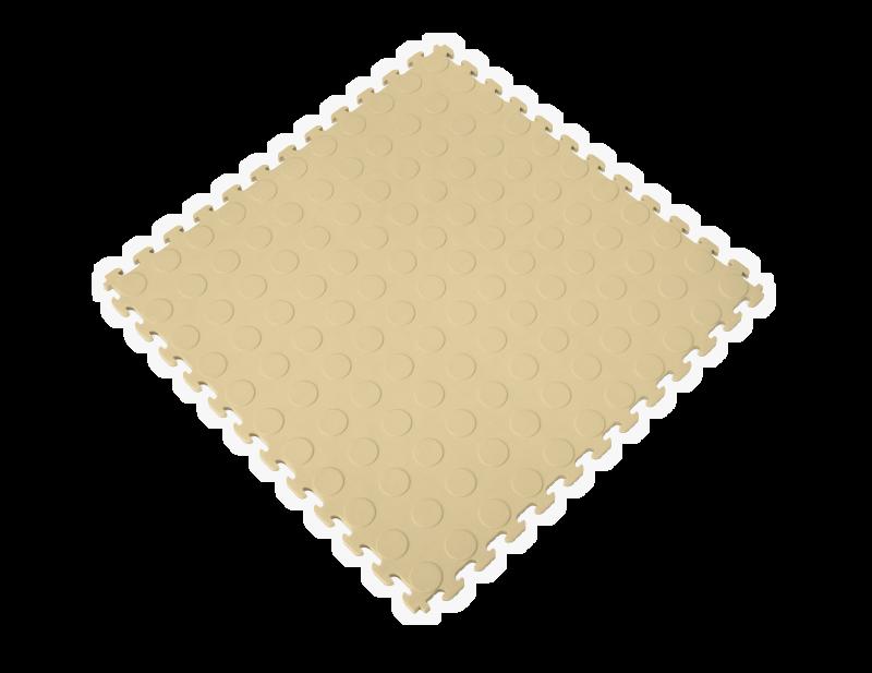 PVC Garage Floor Tiles - Raised Coin – Beige