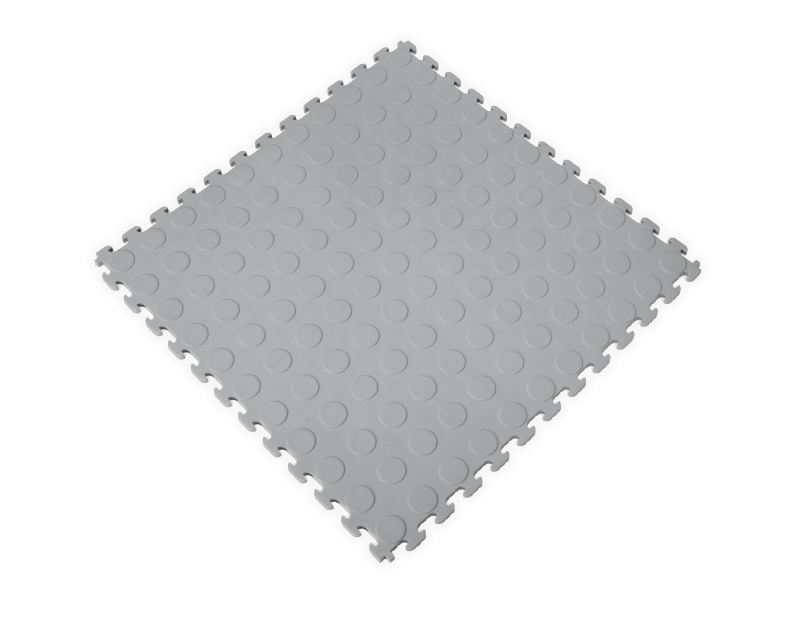 PVC Garage Floor Tiles - Raised Coin – Gray