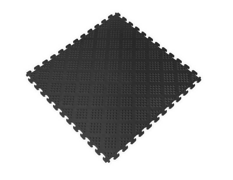 PVC Garage Floor Tiles - Raised Diamond – Black