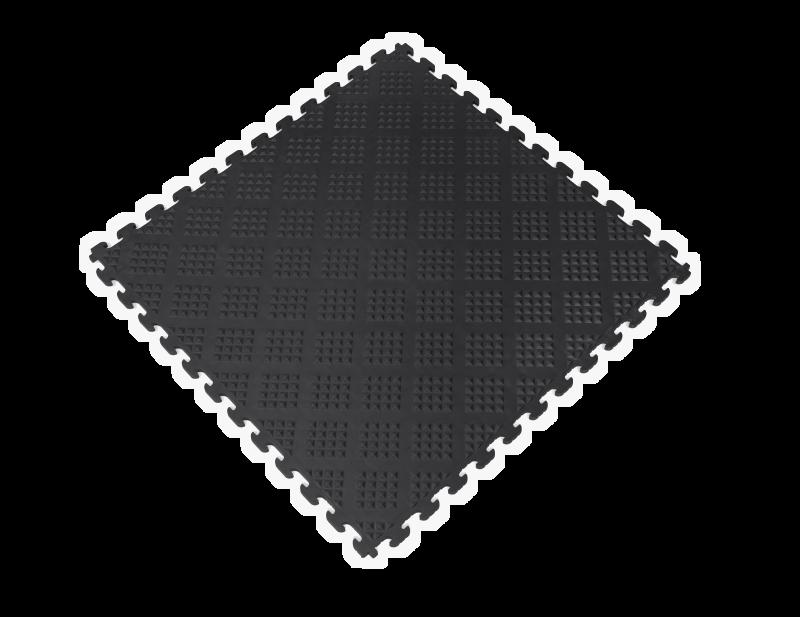 PVC Garage Floor Tiles - Raised Diamond – Black