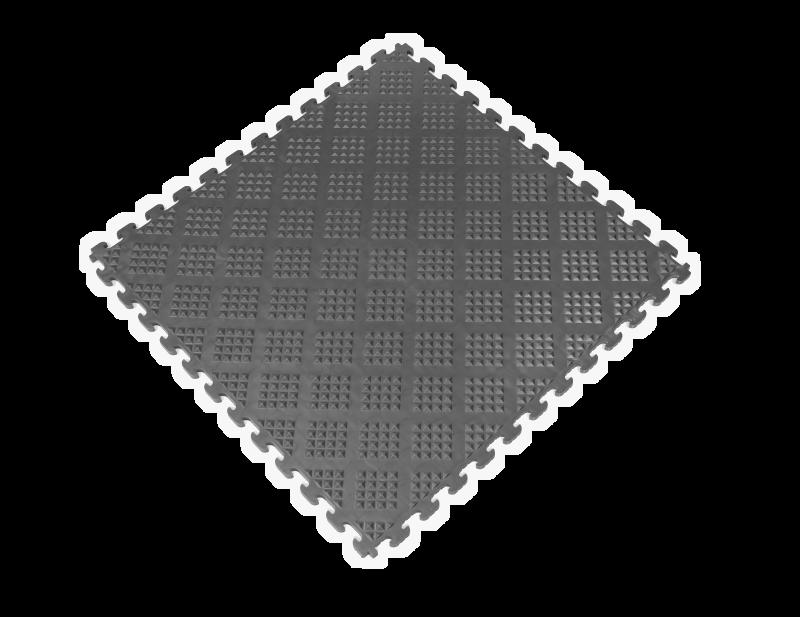 PVC Garage Floor Tiles - Raised Diamond – Graphite
