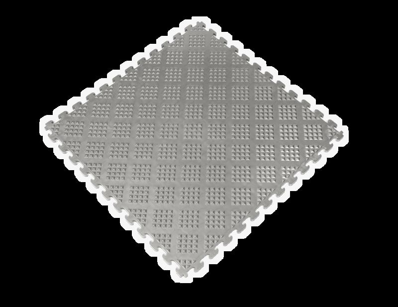PVC Garage Floor Tiles - Raised Diamond – Gray