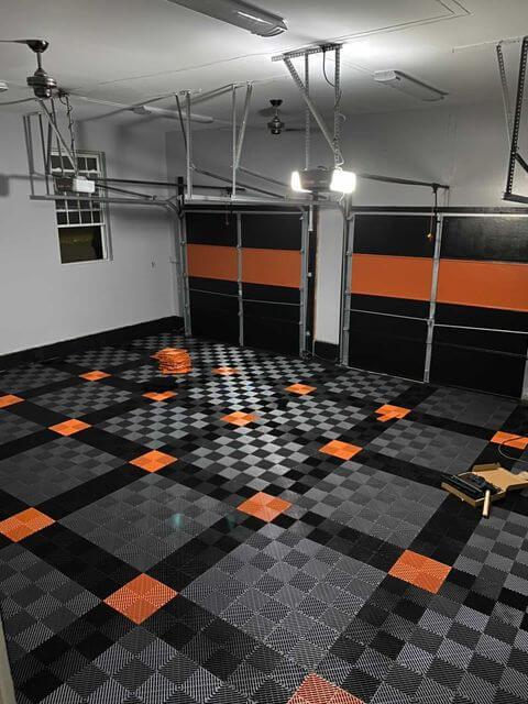 Gray, Black, and Orange Garage Floor Tiles