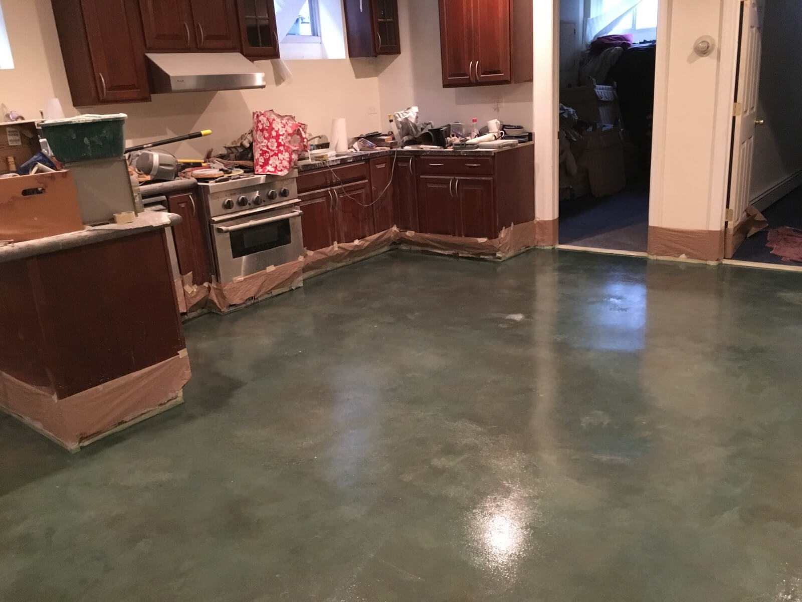 throughout kitchen polished pin installation floor micro and resin prepare concrete floors poured