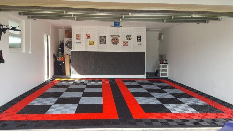 Black and Alloy Garage Tiles Red Border