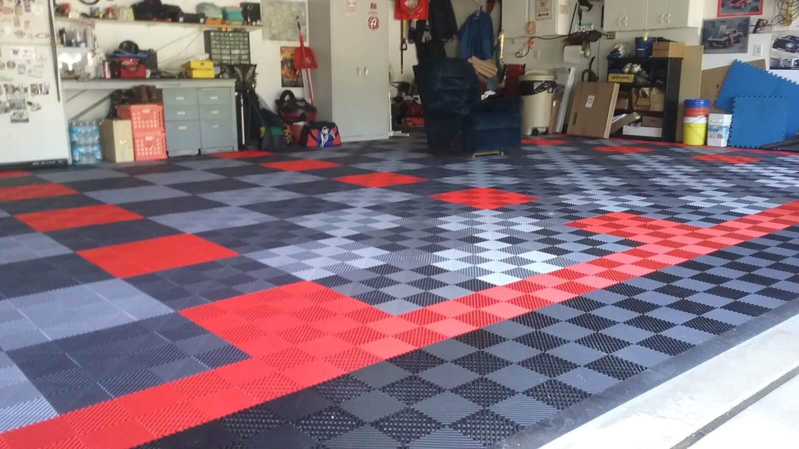 Bruces black red graphite and alloy ribbed garage floor garage he used a combination of black graphite alloy and red in a 22 checkerboard configuration check out all our garage floor tiles dailygadgetfo Image collections