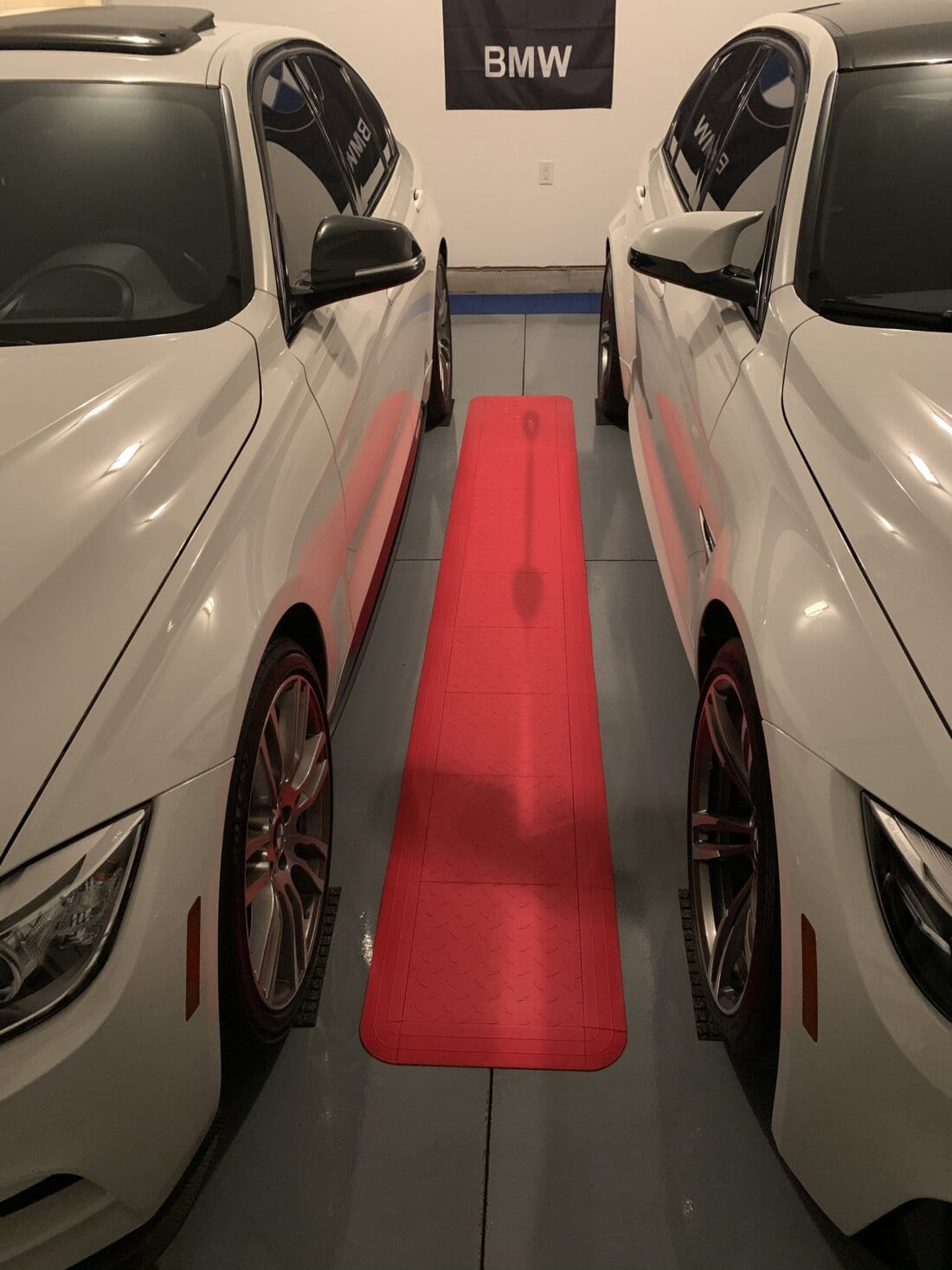 White cars with red tile stripe