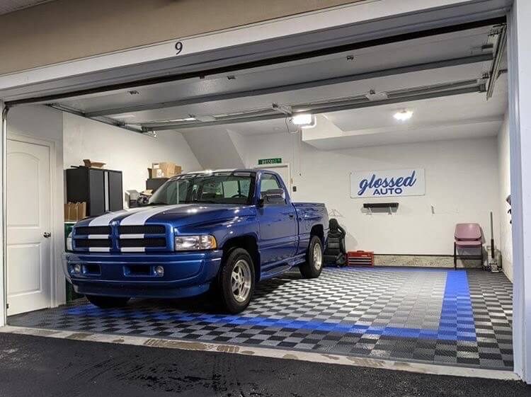 Ribbed Garage Floor Tiles with Blue Truck