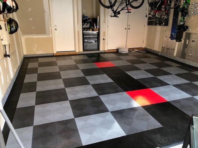 grey and silver checkerboard tiles