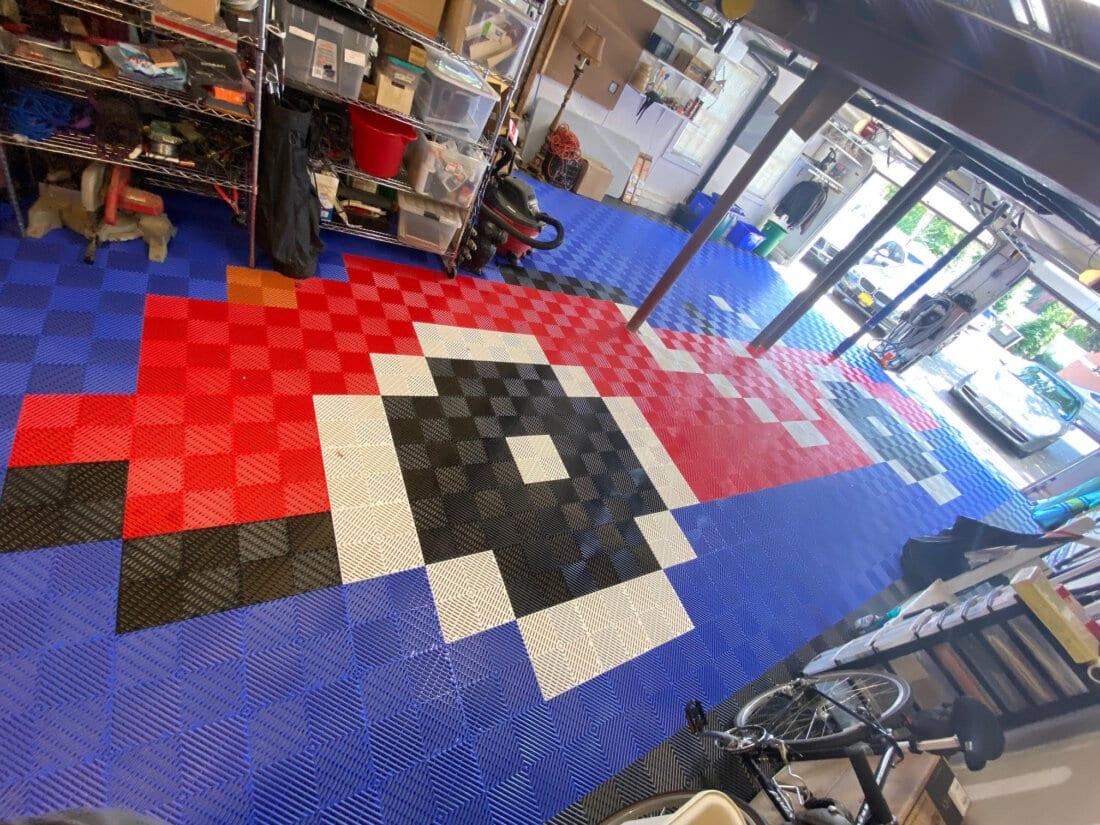 Red, blue, white, black ribbed tiles