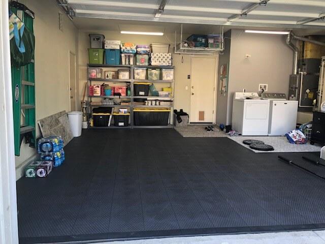 Organized Garage with Black TrueLock HDXT Coin Tiles