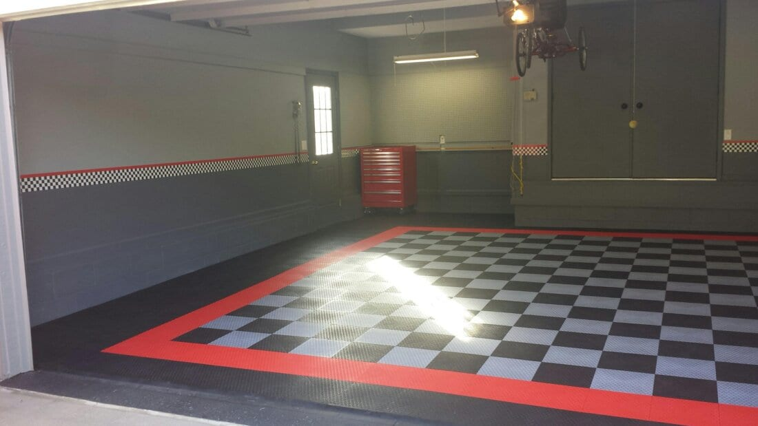Checkerboard Tiles In A Garage