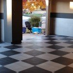 angled shot of garage flooring