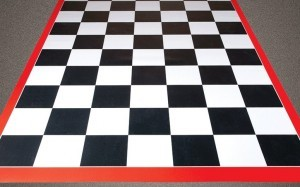 Checkerboard Image Tile Garage Floor Mat
