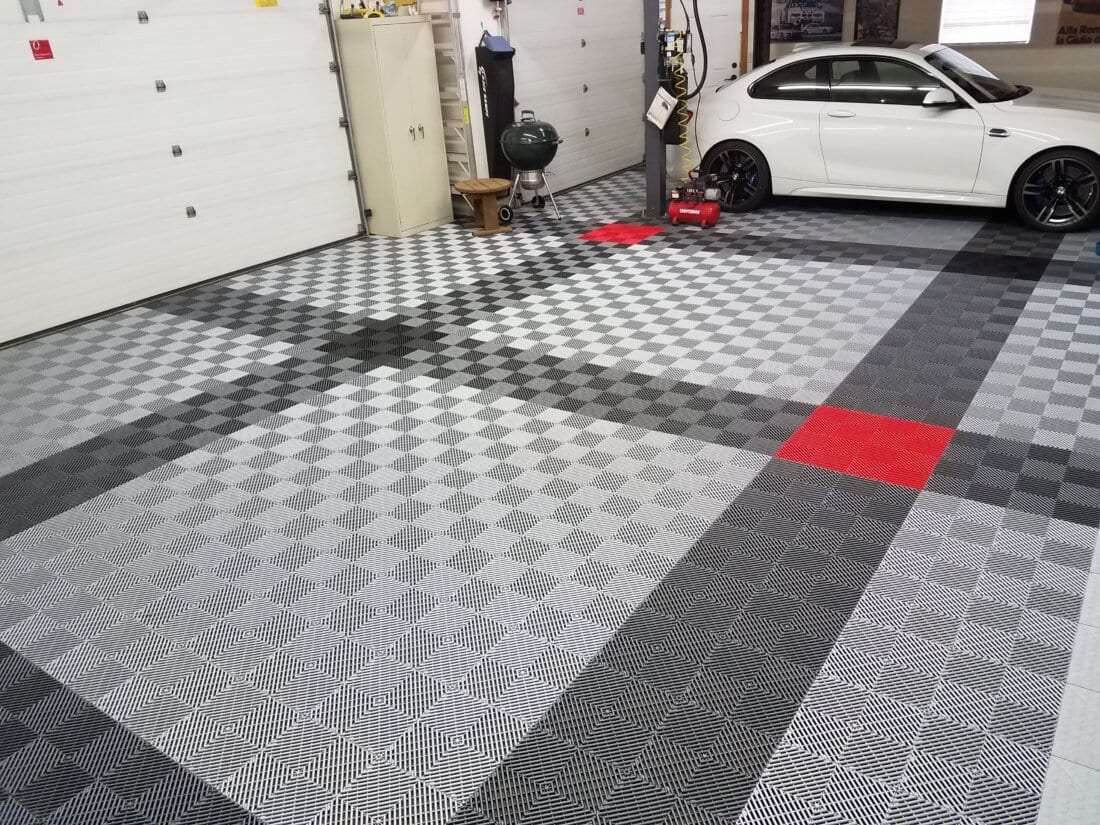 Grey, Silver, Red TrueLock HD Ribbed tiles with white car