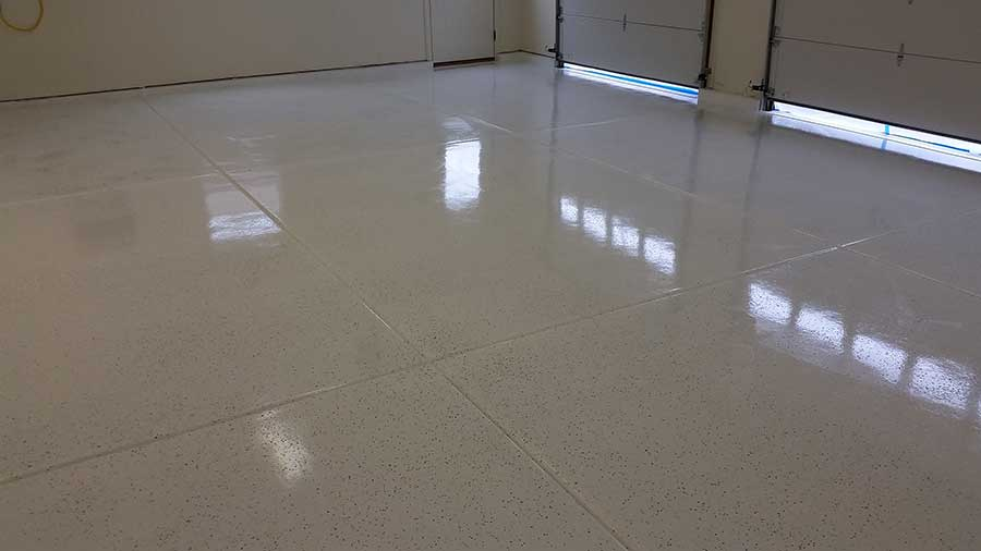 Awesome White Rust Bullet Garage Floor
