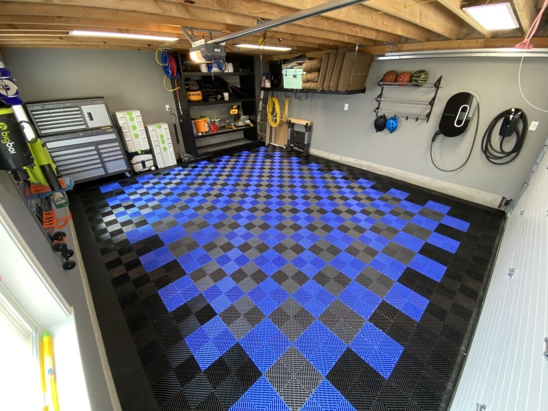 Bird's-eye view of blue and grey checkerboard tiles