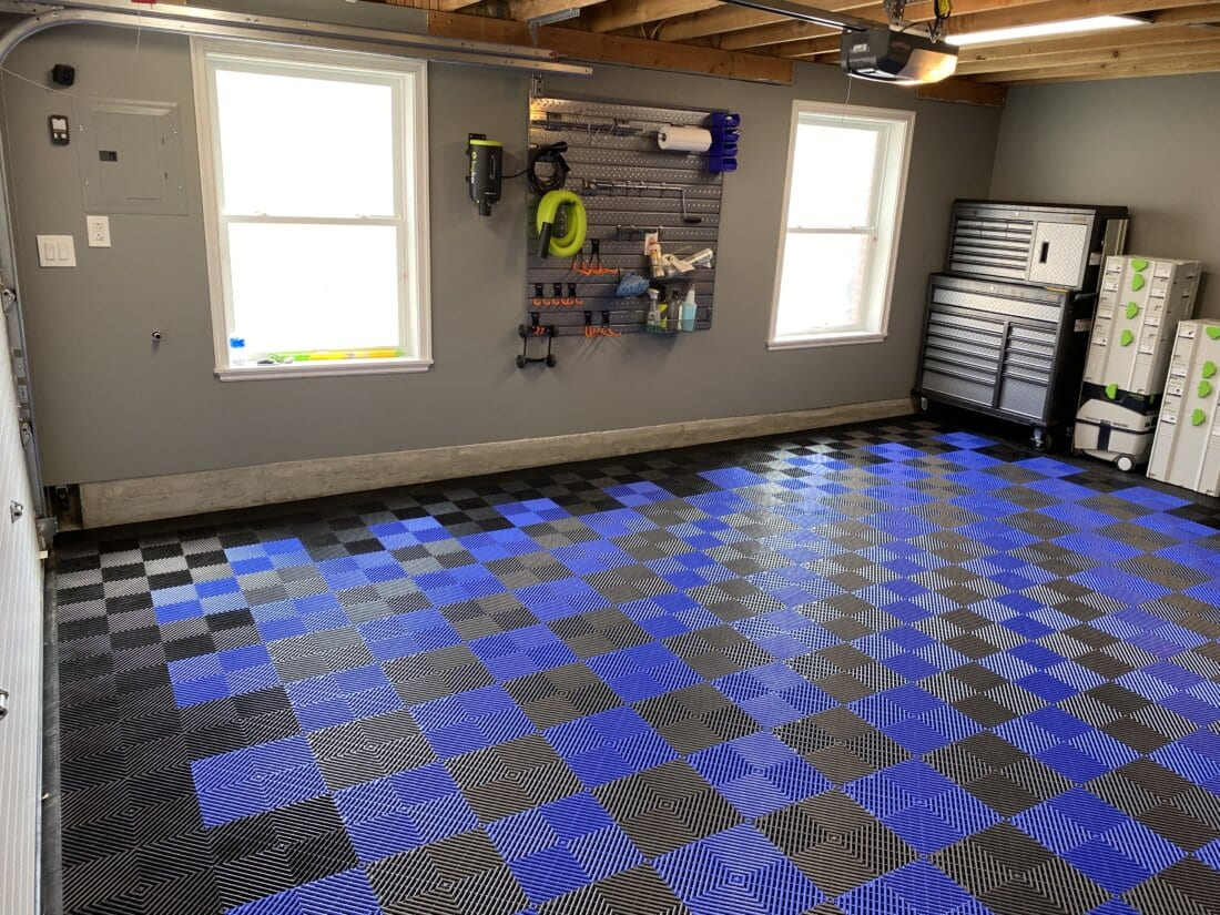 Checkerboard blue and black tiles
