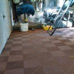 Brown Garage Floor TIle for Tack Room