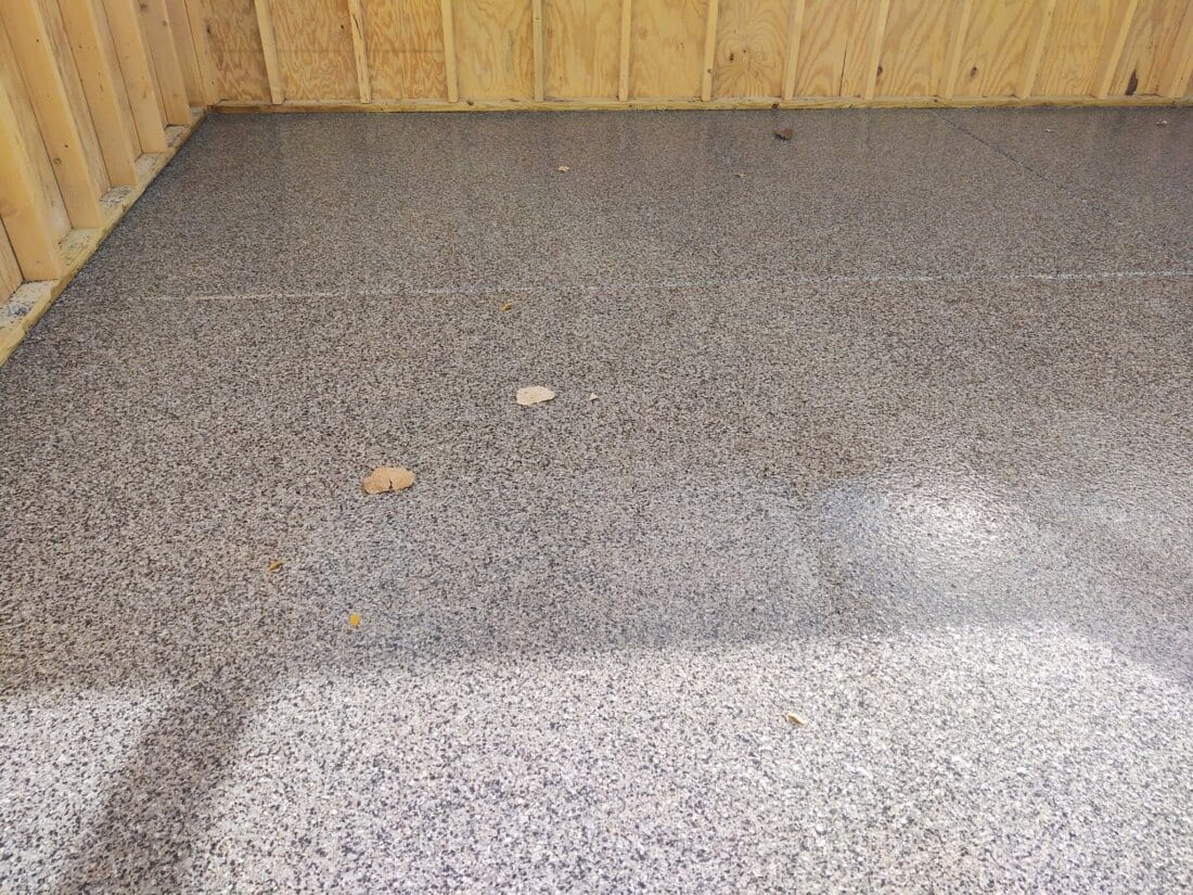 Grey Garage Floor Coating With Flake