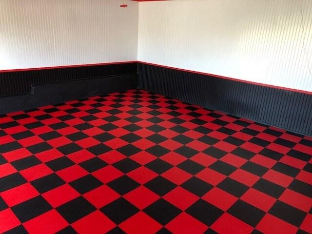 Karen S Red And Black Checkered Garage Garageflooringllc Com