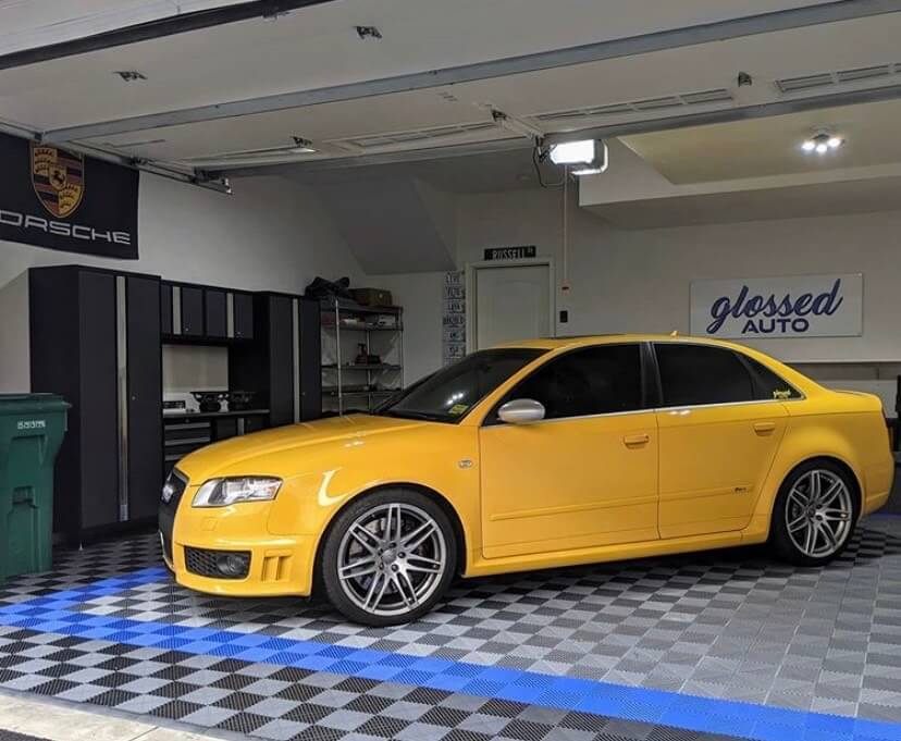 Ribbed Garage Floor with Yellow Car