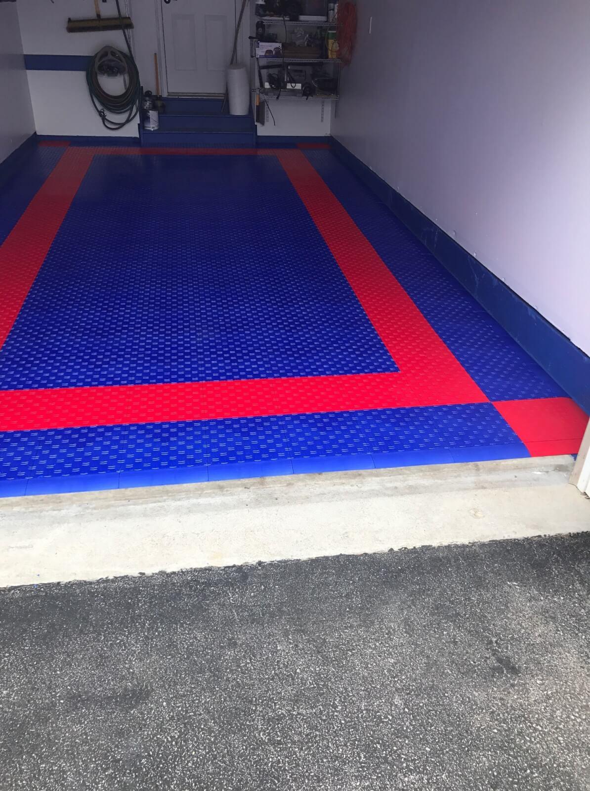 Red Blue Hd Diamond Interlocking Garage Floor Tiles