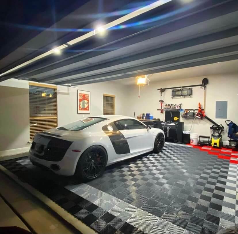 Ribbed garage floor tile