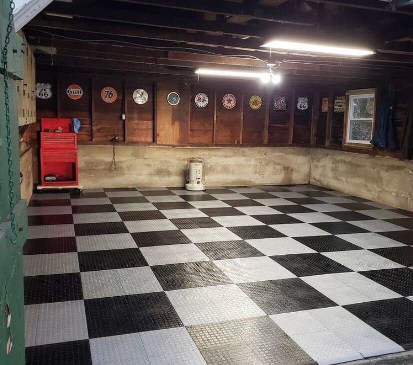 Black and Alloy Checkerboard Tiles