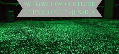 Glowing floor with quotation