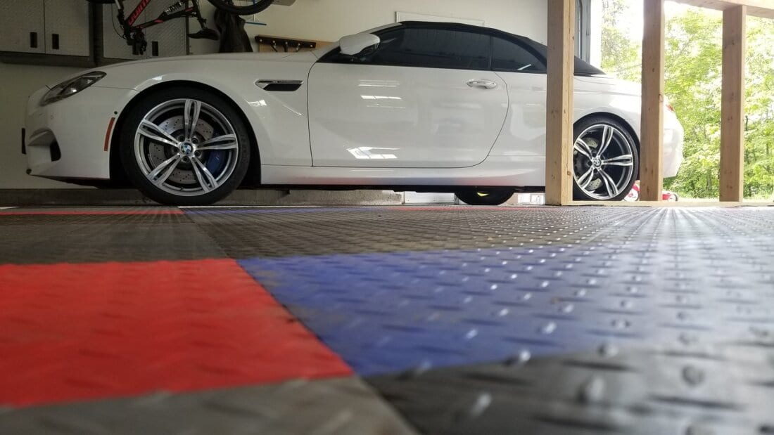 Blue, Red, Black, Grey TrueLock HDXT Diamond Tiles with white car