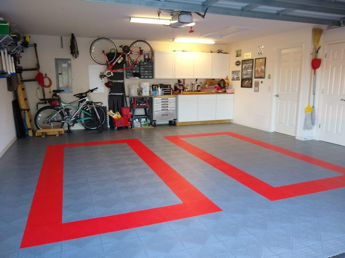 Rocky's two car garage with garage floor tiles, Garage Inspiration