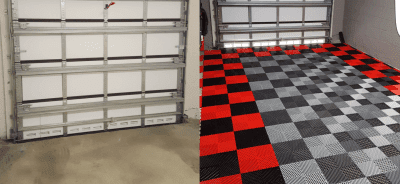 Before and After HD Ribbed Garage Tile