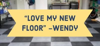 Checker board floor with quotation