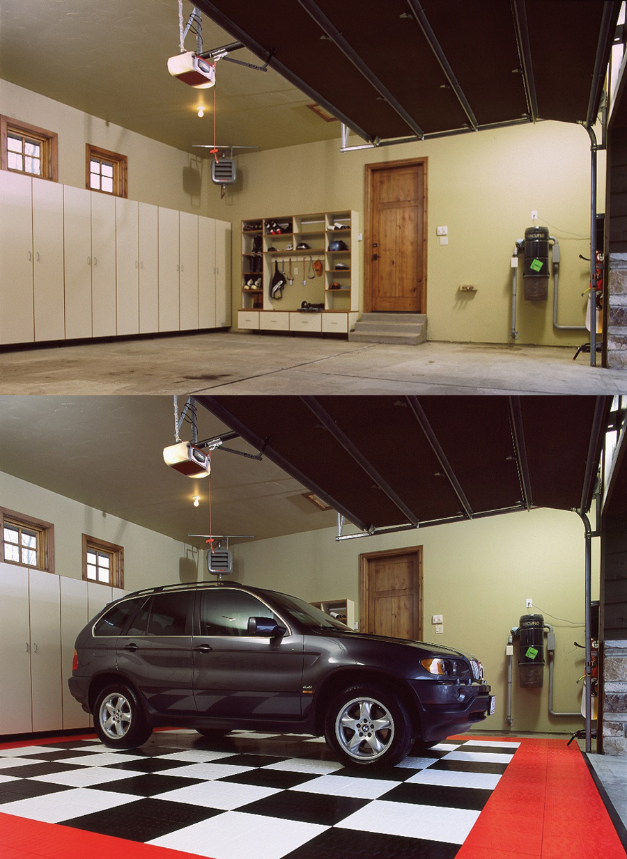 Before and After MotorMat Garage Floor Tiles