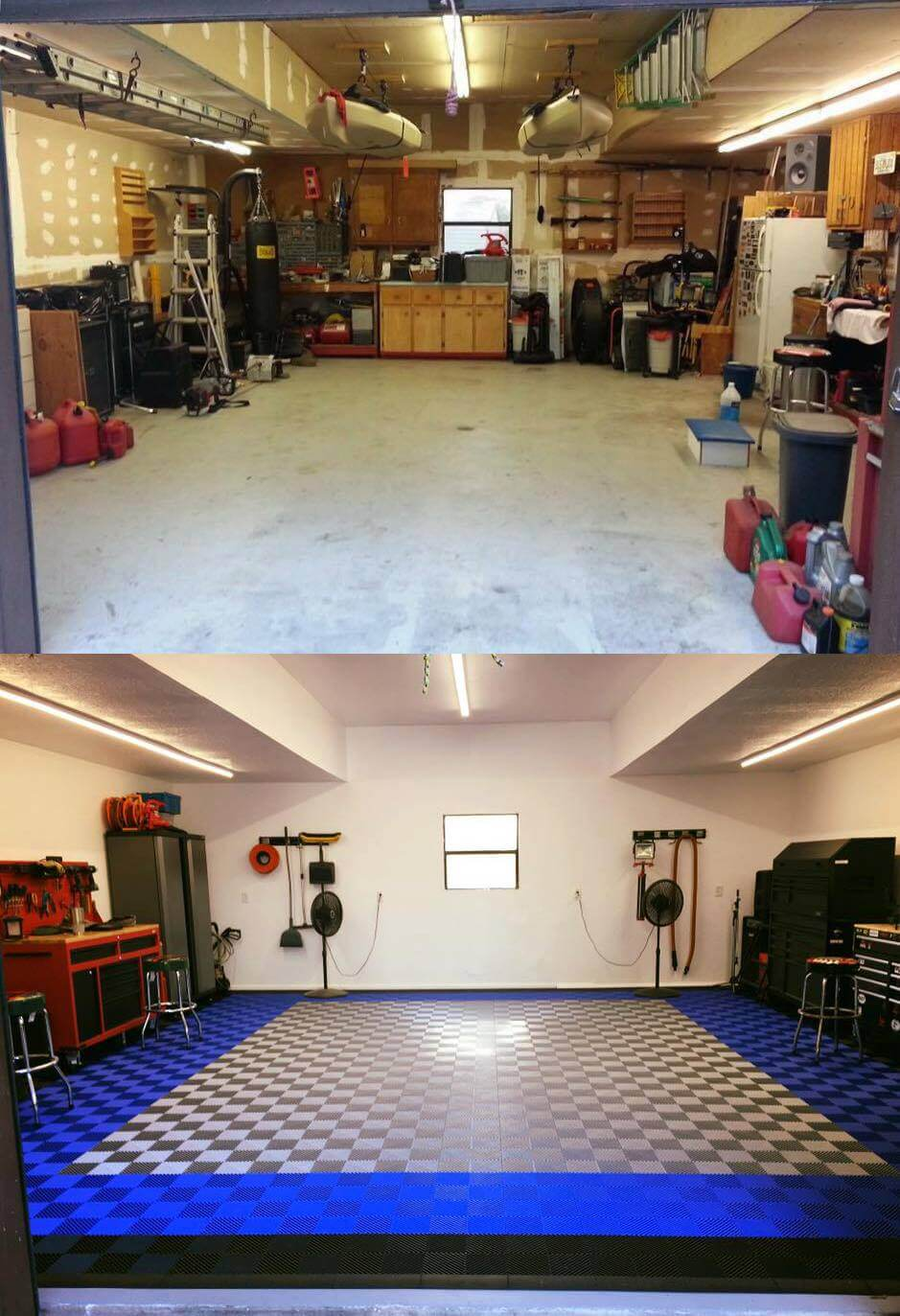 Before and after customer photos garage floor tile for shop flooring before and after dailygadgetfo Images
