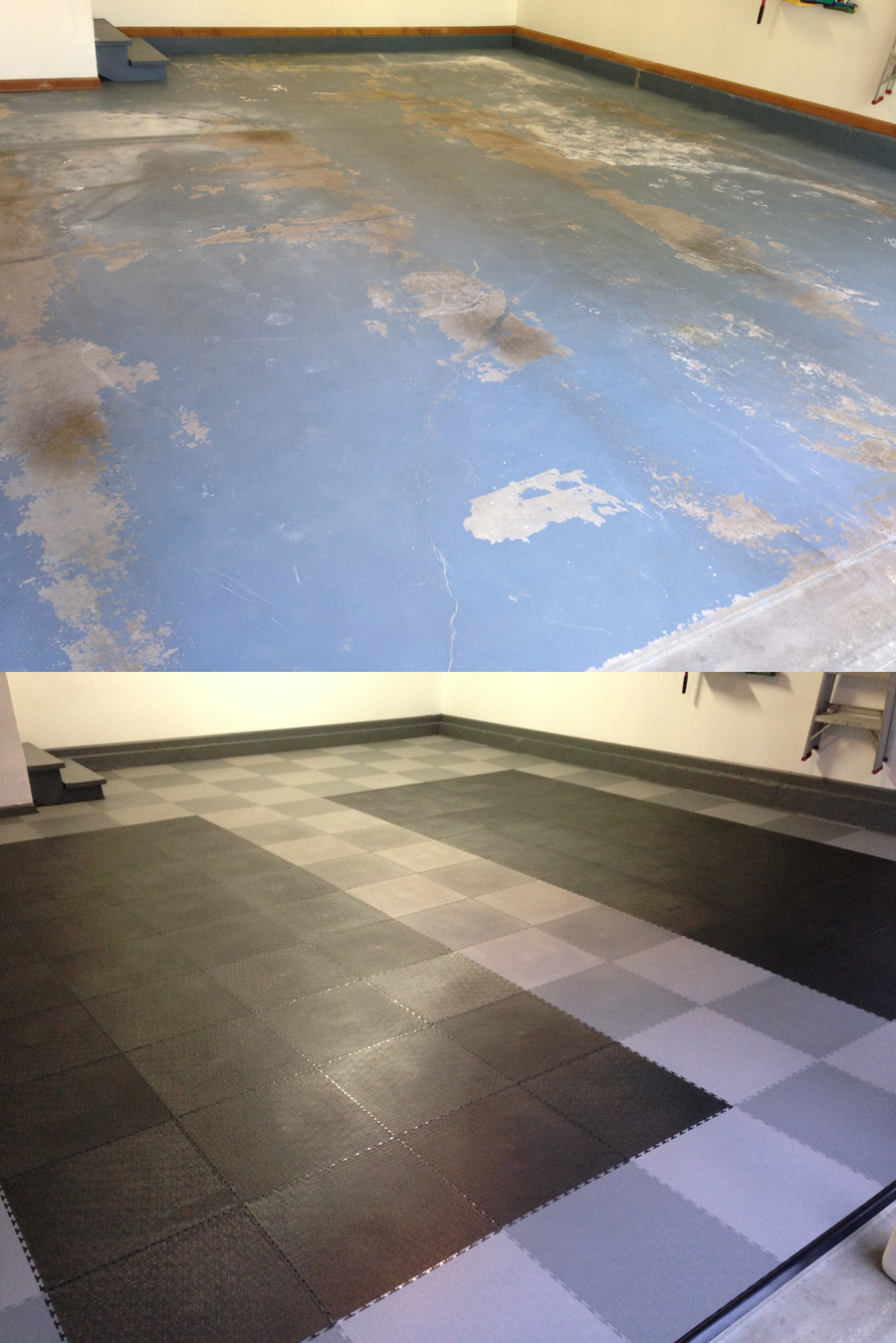 Pvc Garage Flooring : Before and after truelock pvc garage flooring llc