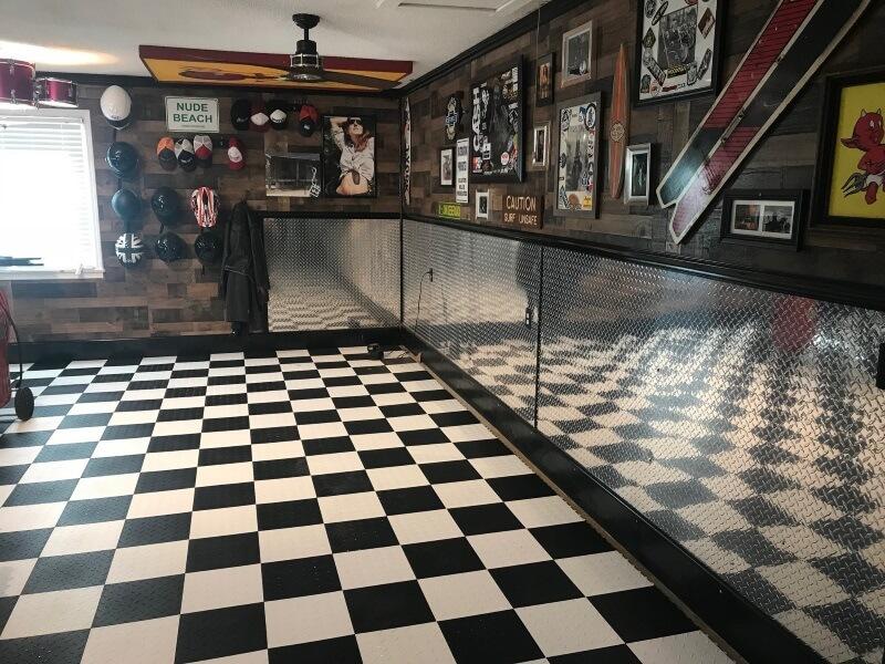 Diamond garage floor tiles