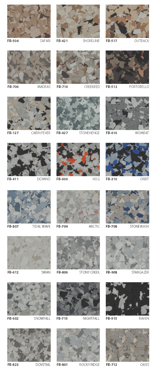 Top 24 flake colors for garage floors