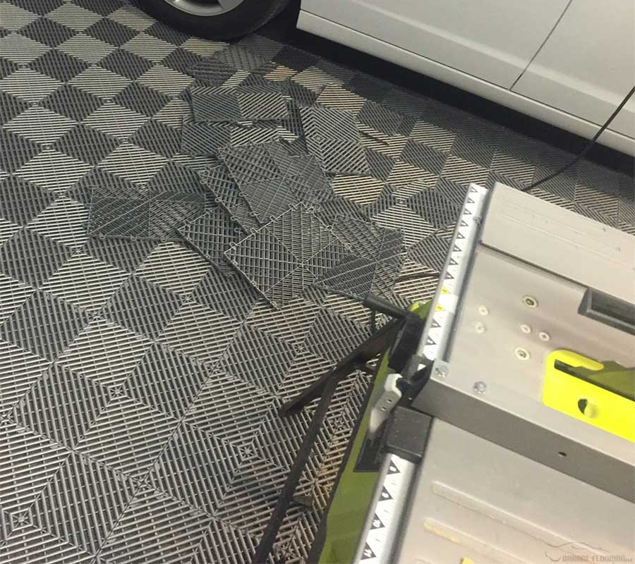 Cutting garage floor tiles