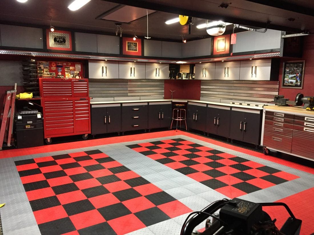 Dan 39 s black and red checkered tile garage floor garage for Two floor garage