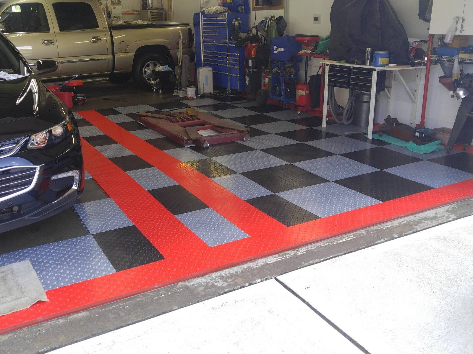 Why truelock hd garage floor tiles randy zs black and silver with double red border tiled garage floor dailygadgetfo Choice Image