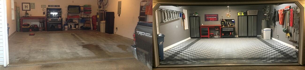 David c black and white red border garage tile garage for Great garage floors