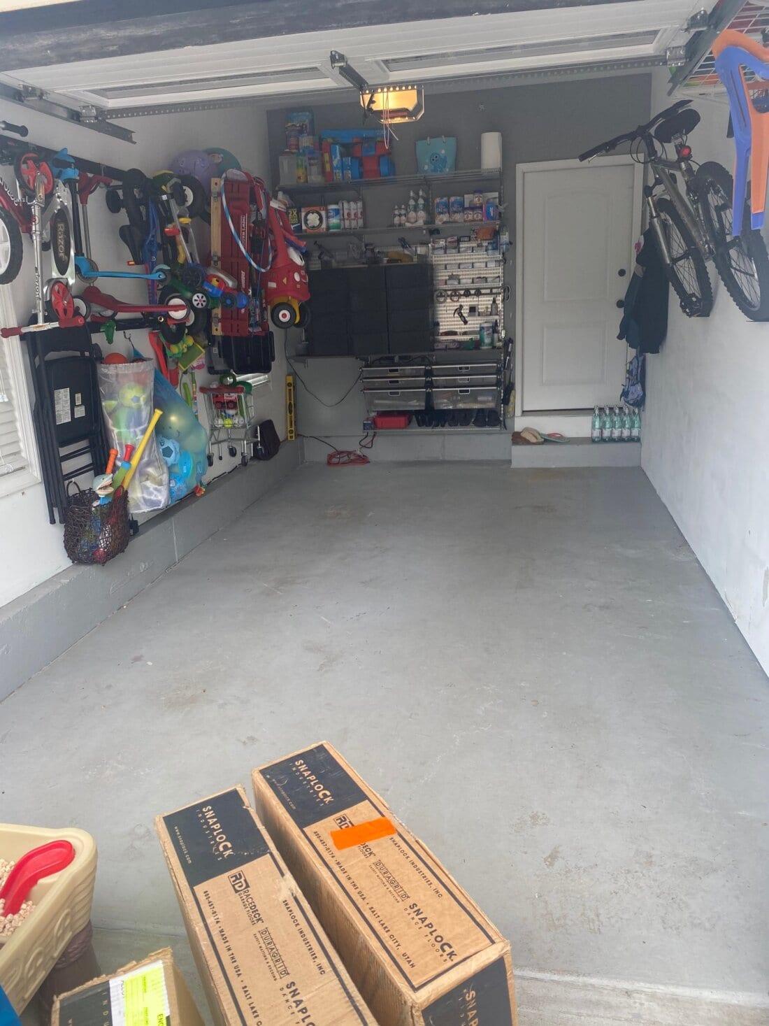 Bare concrete garage