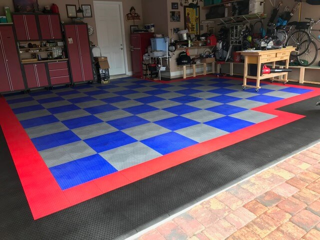 Blue and Alloy Checker board tiles with red and black border