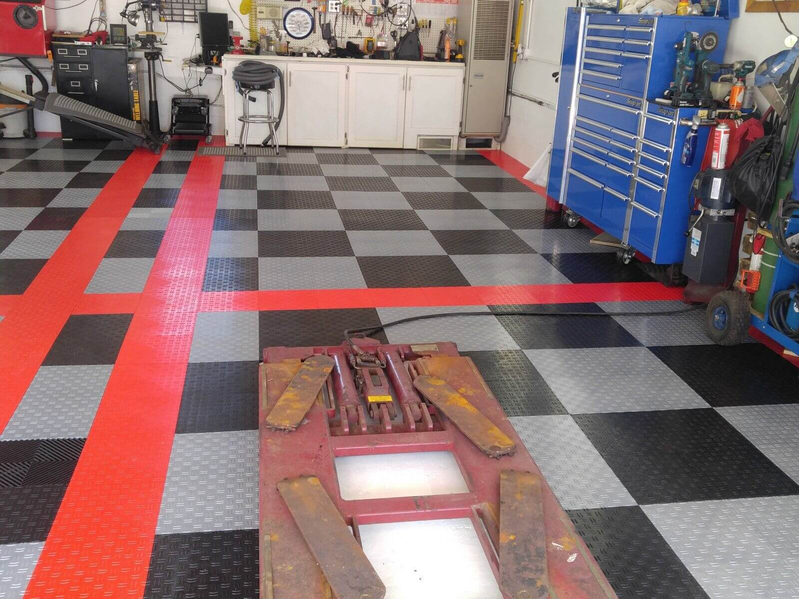 low angel view garage floor tiles