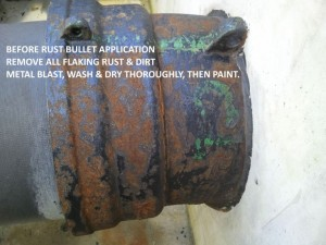 Rusty pipe before rust bullet