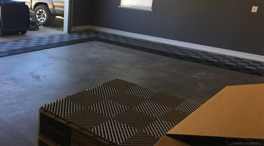 starting install of garage floor tiles