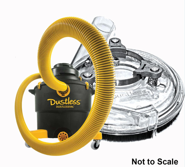 Dustless 16003 & Shroud Wet Dry Vac for Concrete Grinding