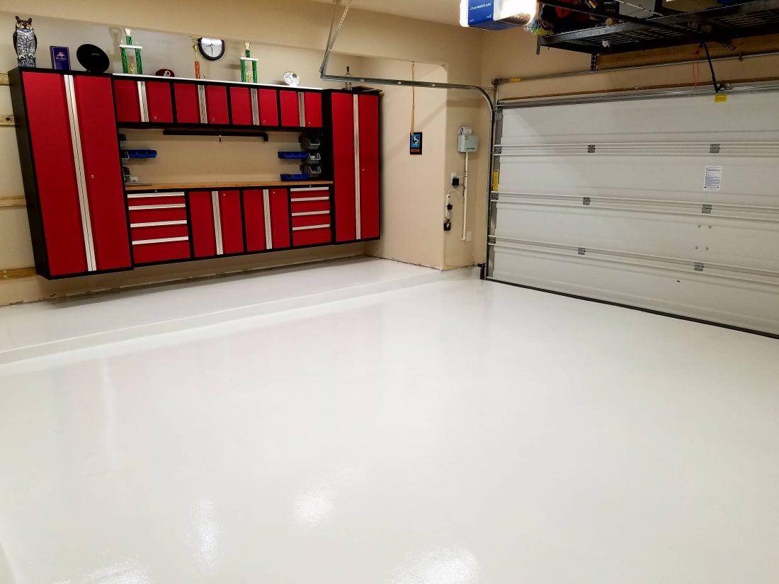 White Garage Floor Coating - Polyurea - Garage Flooring LLC on carpet floors and more, painting and more, lawn care and more, carports and more,